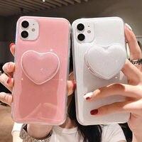 Чехол-подставка карамельных цветов для телефона iPhone 12 11 12Pro Max XR XS Max X 6S 7 8 Plus 11Pro SE 2, блестящий чехол-накладка с сердечками