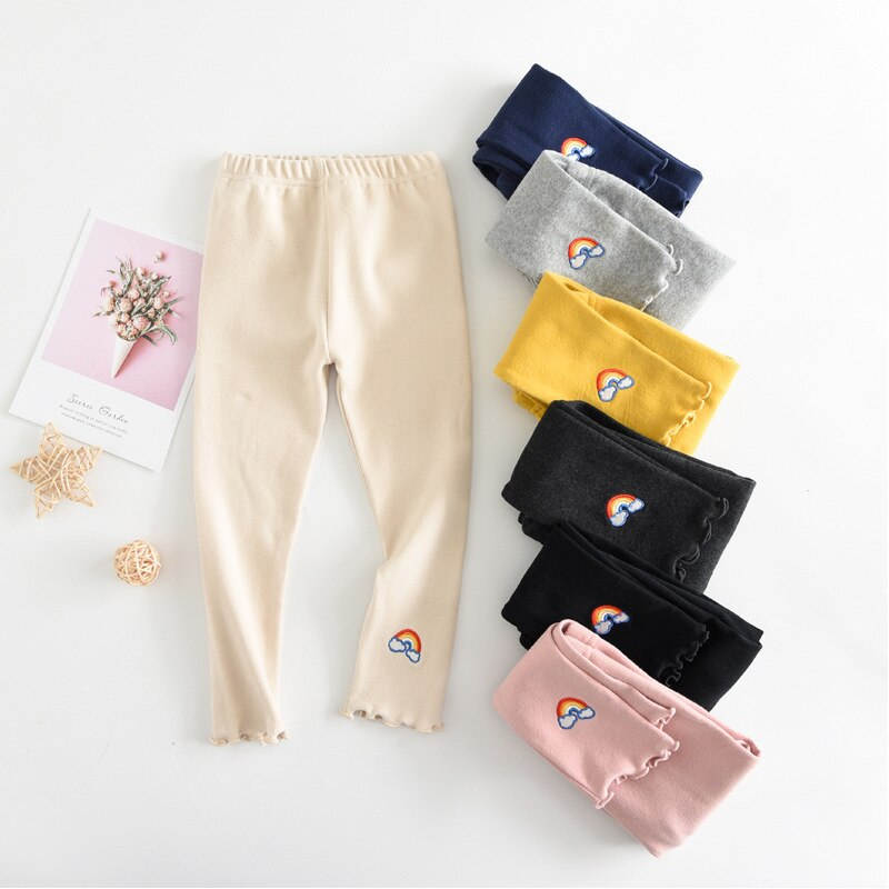 skiny трусы Rainbow Embroidered Girls Leggings For Spring Autumn New Girls Fashion Skiny Leggings Children Cotton Pants Kids Sport Trousers
