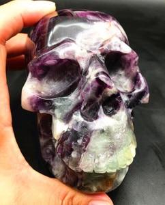 Natural quartz crystal violet fluorite skull for Christmas