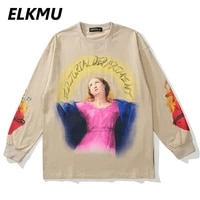 elkmu streetwear harajuku virgin print sweatshirt men fashion 2021 autumn khaki pullover cotton tops casual loose hm562
