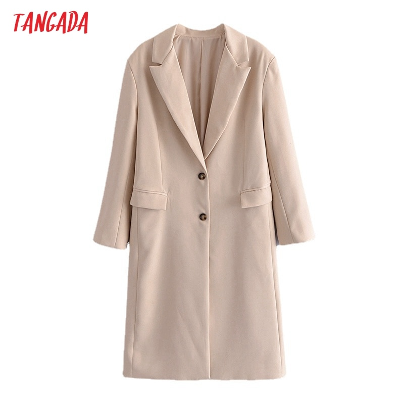 Tangada 2021 الخريف النساء انكلترا نمط الكلاسيكية معطف طويل محززة طوق طويلة الأكمام مكتب سيدة معاطف 3W173