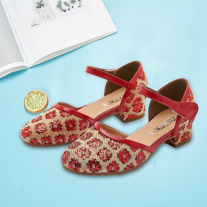 Sandalias de princesa para niños SKHEK, zapatos de boda para niñas, zapatos de vestir de tacón alto, zapatos de oro, rosa, azul y plata para niñas