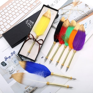 New Single English Calligraphy Feather Pen Box Multiple Feather Dip Pen Student Retro Writing Stationery Set Wholesale