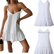New Sxey Summer Dress Women Solid Loose Sleeveless Ruffle Elegant Strap Sundress V-neck Beach Dress Vestidos Robe Femme 2020