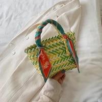 color woven beach handbag bags for women 2021new silk scarf design mini bucket bag summer personalized handbag plastic woven bag