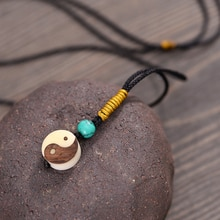 Yin Yang BAGUA Symbol Pendant Necklace Chinese Amulet Tague Nut Handmade Jewelry