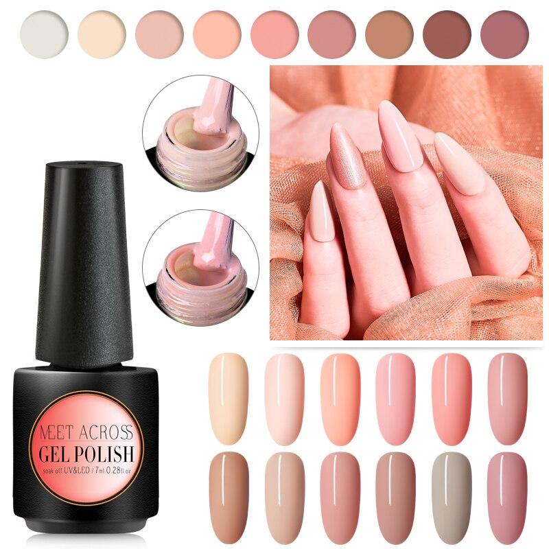 Набор гель-лаков для ногтей, 7 мл, телесный, бежевый, розовый цвет, УФ/светодиодный Полупостоянный лак для ногтей, набор для маникюра
