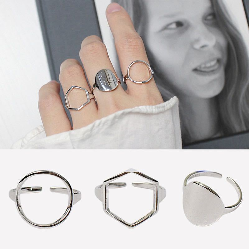 Personality Exaggerated 925 Sterling Silver Circle Hexagon Rings For Women Engagement Jewelry Girls Open Finger Rings