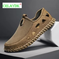 crlaydk mens sport sandals breathable summer outdoor closed toe fisherman shoes slip on beach handmade comfort loafers