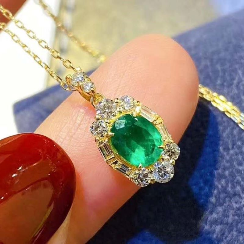 Fashion Elegant Natural Columbian Emerald Pendant Necklace For Women Party S925 sterling silver Fine Jewelry Certificated Gifts