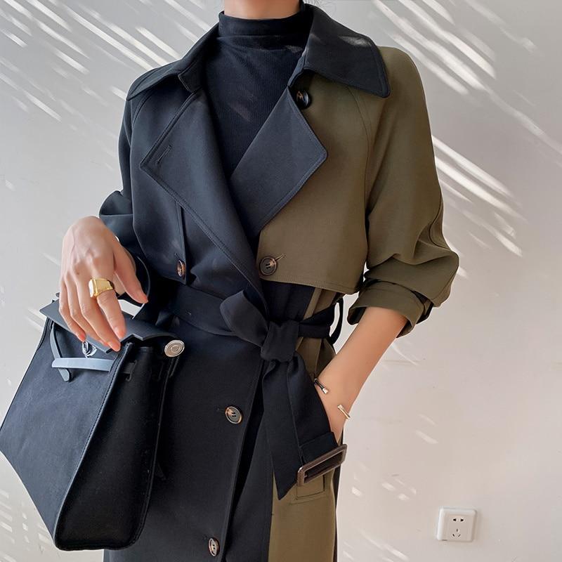الأوروبية الأمريكية جودة عالية الخريف الربيع خندق معطف المرأة حجم كبير معطف طويل بسيط شيك الكلاسيكية الإناث سترة واقية FY112