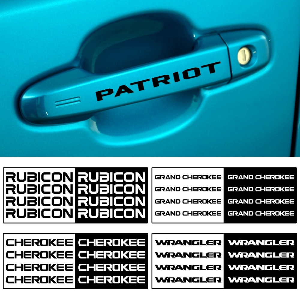 Para jeep patriot cherokee wrangler renegado grand compass 4pcs vinil maçaneta da porta do carro adesivos limpador espelho guarnição decalques