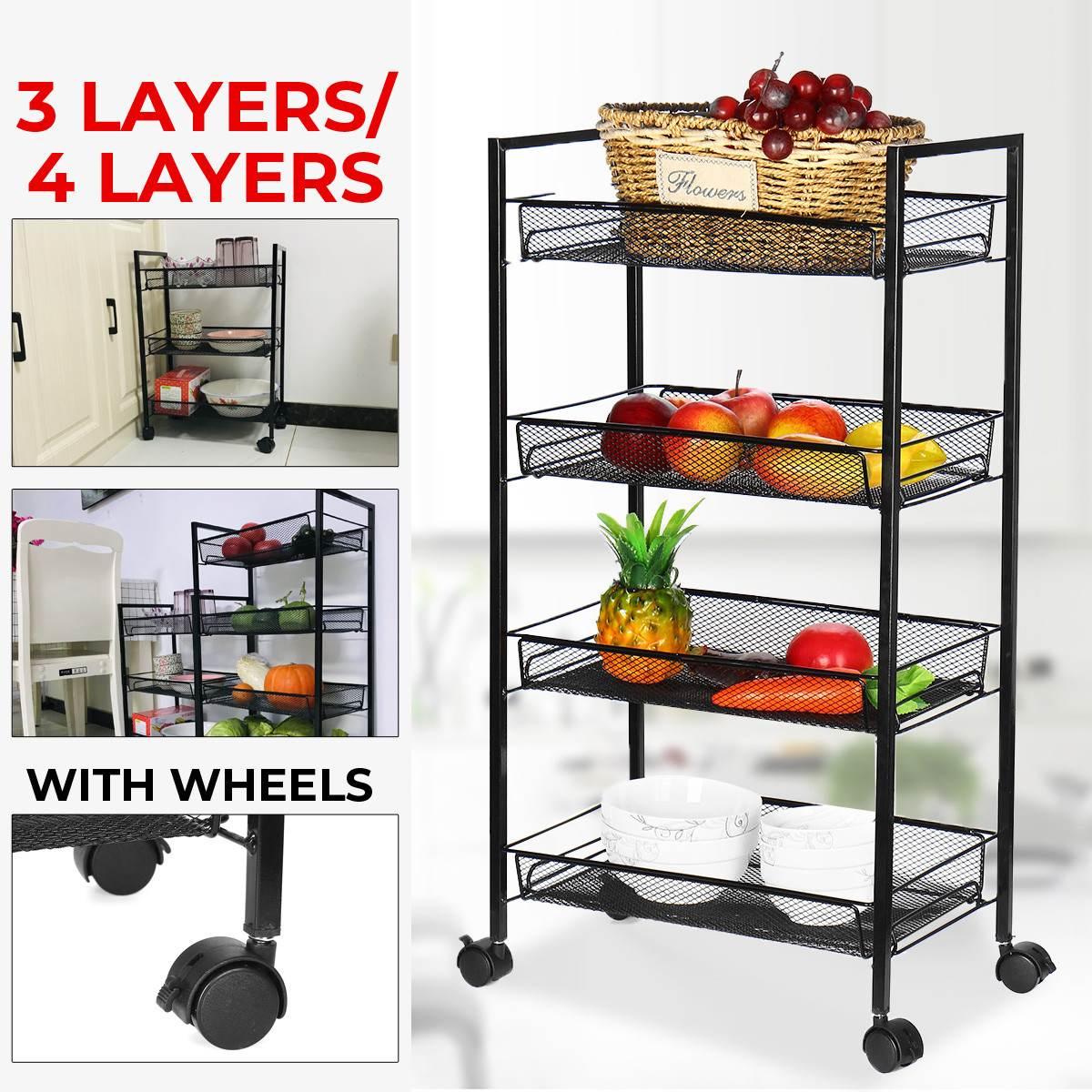 رف حمام قابل للإزالة مع عجلة ، 3/4 طبقة ، رف تخزين ، منظم مطبخ