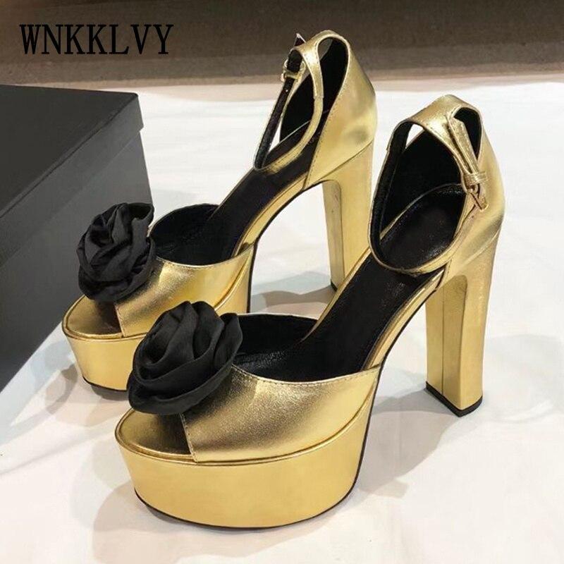 المدرج الذهب الصنادل النساء الزهور اللمحة تو عالية الكعب الكاحل حزام المصارع Sandalias الصيف مثير فستان الحفلات أحذية للسيدات