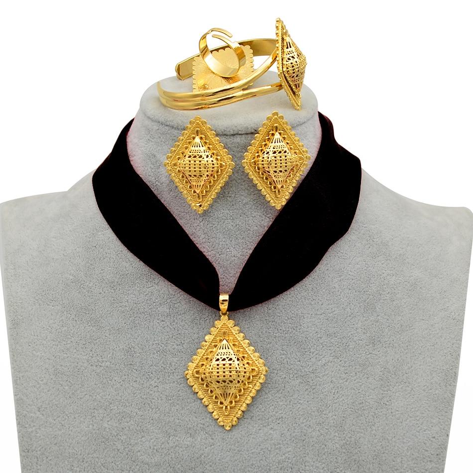 Anniyo diy corda etíope conjunto de jóias pingente colares brincos pulseira anel cor ouro eritrea habesha conjuntos de jóias #218406