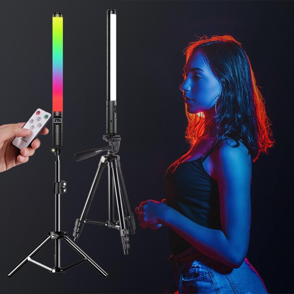 RGB عصا ضوء عصا مع حامل ثلاثي القوائم الطرف مصباح LED ملون ملء ضوء يده فلاش Speedlight التصوير الإضاءة الفيديو