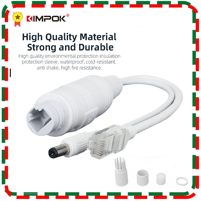 KIMPOK 48V to 12V POE Splitter IP67 Waterproof Adapter Cable Power Supply Module POE Splitter Injector for IP Camera