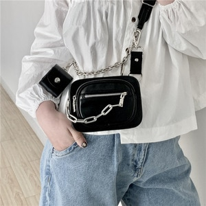 Luxury Women Totes ins hot style metal chain shoulder Messenger bag bike wallet bag coin purse Fashion chest pack Strap Clutch