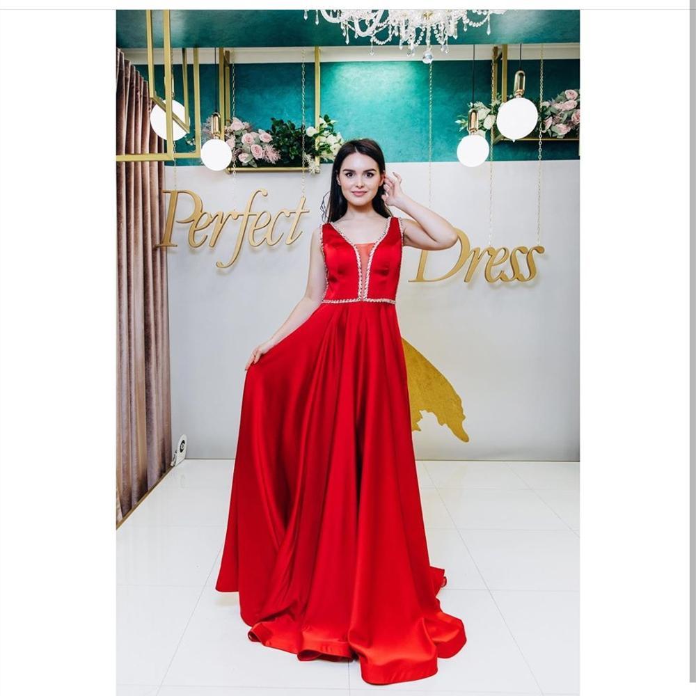 Красные вечерние платья, Длинные Роскошные вечерние платья 2020, женские вечерние атласные платья трапециевидной формы, без рукавов, с v-образ...