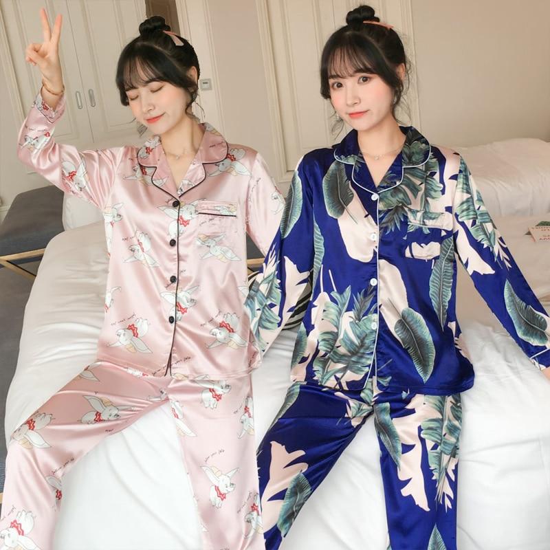 2020 Otoño de manga larga de seda estampado satinado pijamas conjuntos para mujeres Pijama coreano traje de Pijama ropa de casa Pijama Mujer ropa de hogar