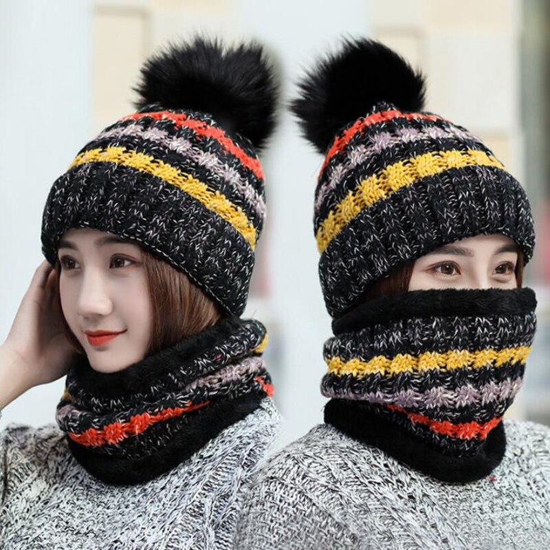 Зимняя женская шапка, шарф, набор теплая шапка бини, шарф-кольцо, вязаная шапка, помпоны, шерстяная зимняя шапка, уличная интегрированная