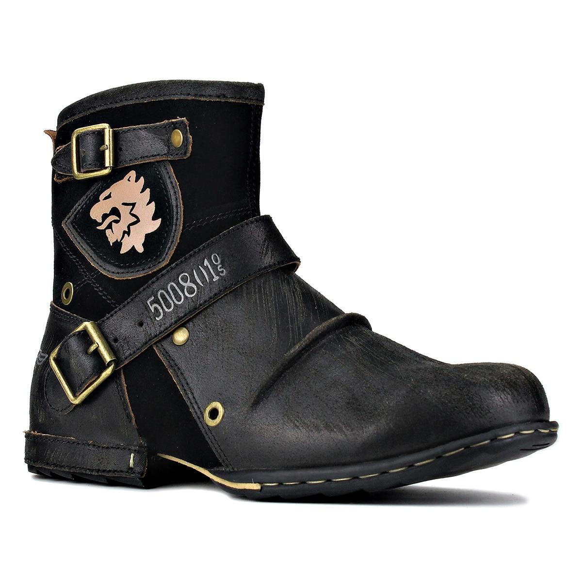 أحذية جلدية أصلية للرجال ، أحذية عمل عالية الجودة ، أحذية كاوبوي Chukka ، أحذية بسحاب للدراجات النارية ، أحذية غربية عصرية