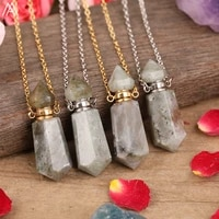 natural labradorite stone point perfume bottle diffuser pendant necklace women haxagonal stone gold silvery necklac jewelry gift
