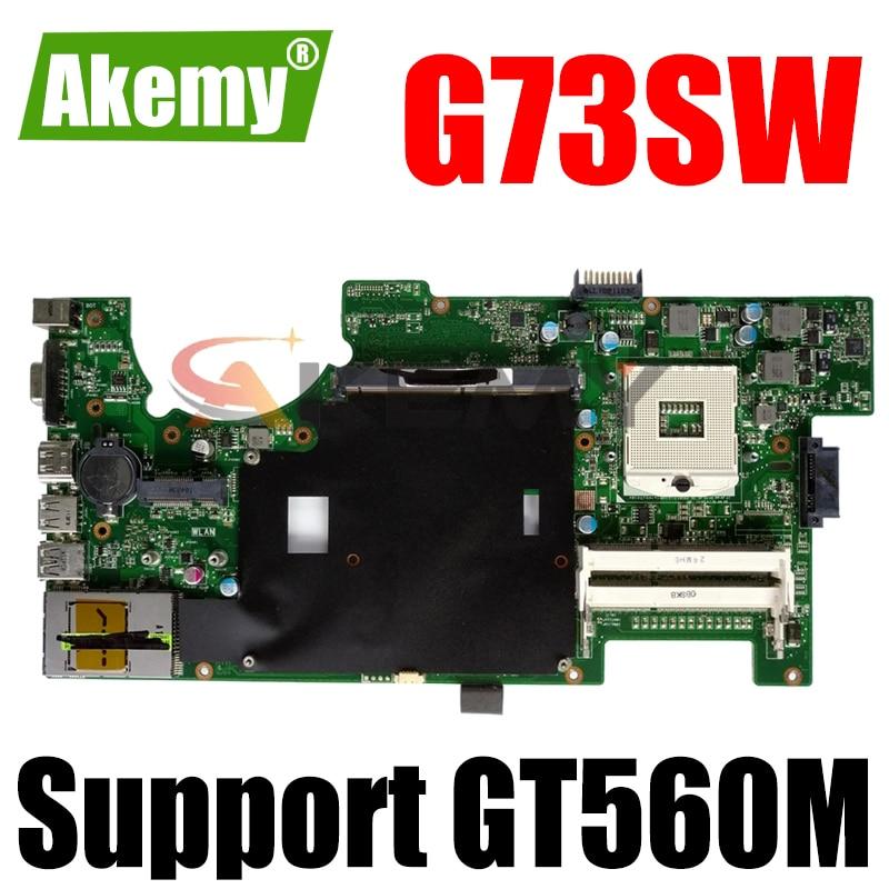 Akemy G73SW اللوحة REV2.0 ل For Asus G73SW G73S G73 اللوحة المحمول HD3000 100% اختبار بالكامل HM65 دعم GT560M 4 * فتحات 3D
