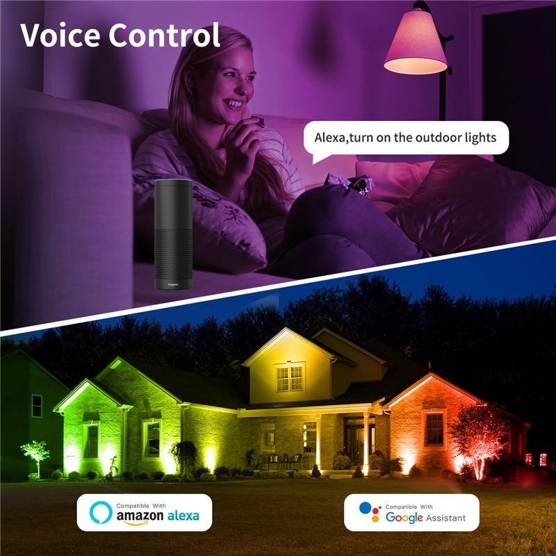 2Pack Smart RGB Spotlight Wall Outdoor Lighting WIFI Bluetooth Control LED FloodLight 40W Reflector LED Flood Light IP66 enlarge