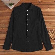 Summer Mens Shirts Regular Fit Fashion Long Sleeve Buttons Solid Color Blouse 2020 Cotton Linen Tops Casual Overhemden Heren