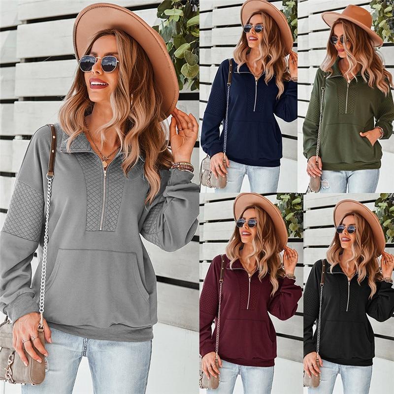 Женские Элегантные толстовки с длинным рукавом, Осень-зима, женские модные свободные топы на молнии, куртки, свитшоты, пуловеры, одежда