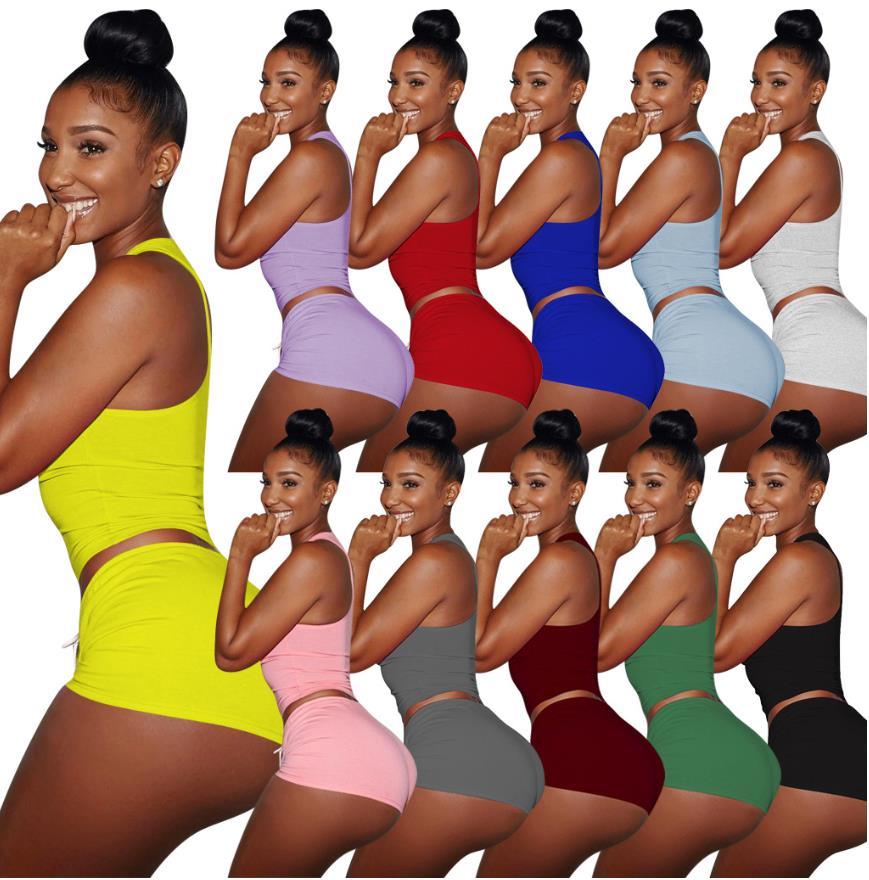 Conjunto de 2 piezas de ropa de Yoga de verano para mujer, vestido de dos piezas, conjunto de falda corta, trajes sin mangas, ropa de verano para mujer, manga corta