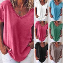 Été 2020 dames T-shirt nouveau élégant simple couleur unie col en v chemise ample mince t-shirt style décontracté