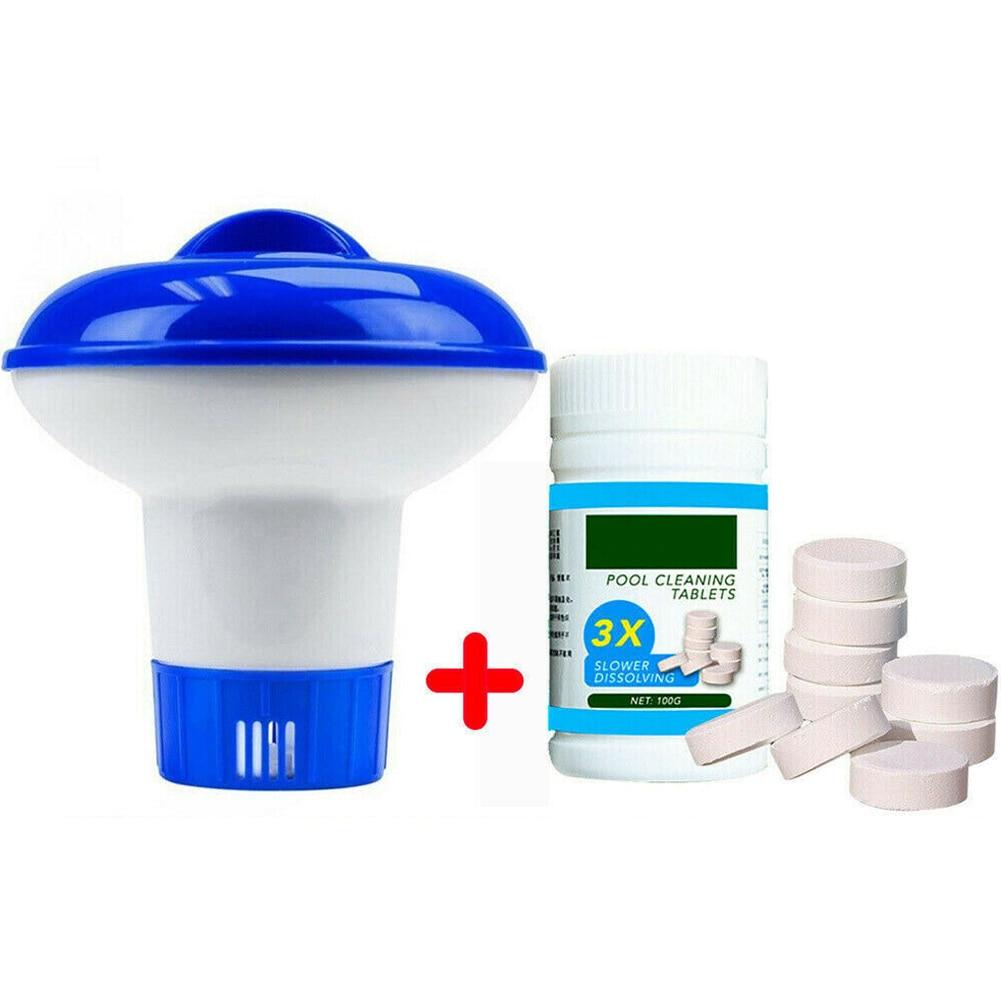Piscina limpeza flutuante com 100 pçs purificador comprimidos piscina cloro dispenser kit ksi999
