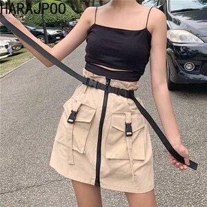 Harajpoo Women Skirts Summer 2021 New Harajuku Style Pocket Zipper High Waist Net Red Tooling A Line Female Casual Skirt Tide
