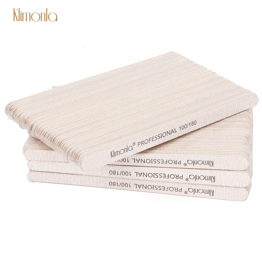 100Pcs/Pack Gray Professional Wooden Nail File100/180 Sandpaper  Block Buffer Manicure Salon Nail Care Gel Polisher Supplier