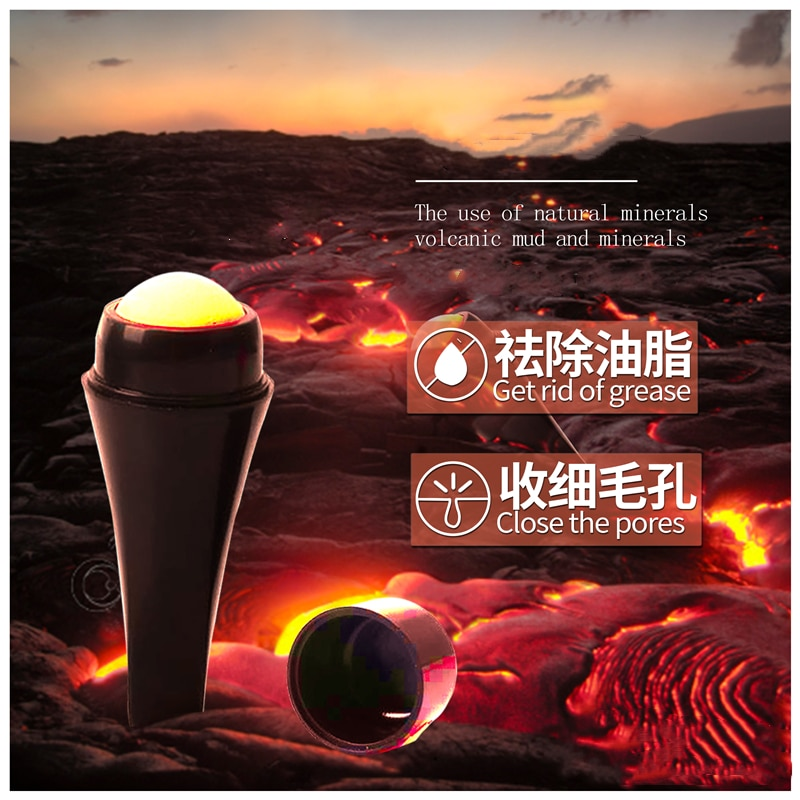 Natural Porous Volcanic Stone Oil-control Rolling Roller Makeup Face Care Tools Removable for Facial