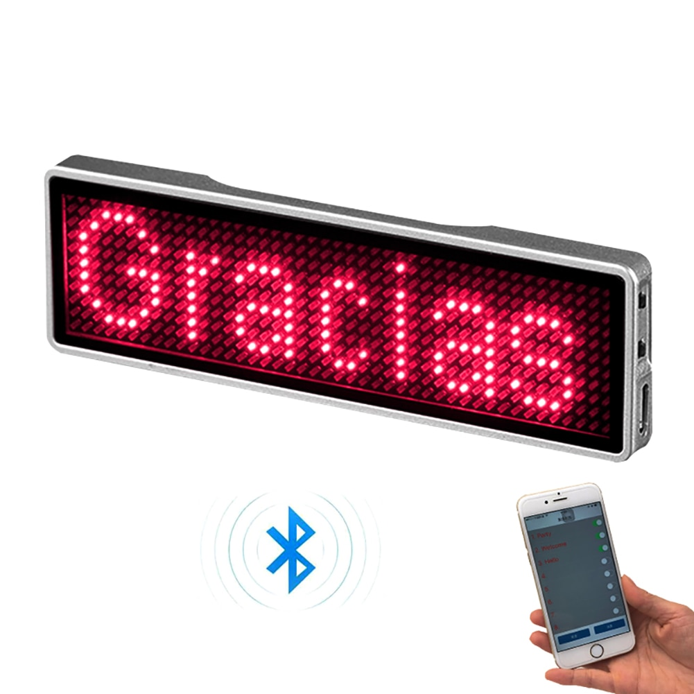 Rechargeable Bluetooth Digital LED Badge Insignia DIY Programmable Scrolling Message Board Mini LED Display LED Name Tag