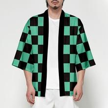 Anime Demon Slayer Kimetsu No Yaiba Tanjiro Kamado Cosplay traje hombre Kimono más tamaño chaquetas fiesta de Halloween para mujeres