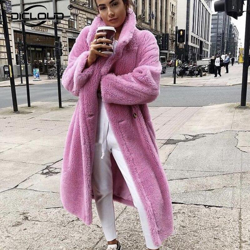 2019 abrigos de piel de cordero Rosa largo oso de peluche chaqueta abrigo mujer invierno sobredimensionado abrigo grueso cálido Faux grueso prendas de vestir exteriores