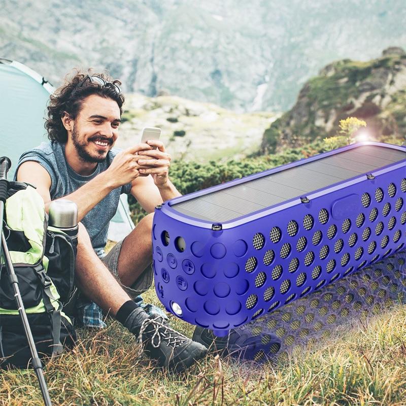 مكبر صوت محمول يعمل بالطاقة الشمسية T60 ، بلوتوث ، مقاوم للماء ، ضوء LED ، ميكروفون مدمج ، ركوب ، مضخم صوت ، مكبر صوت شخصي