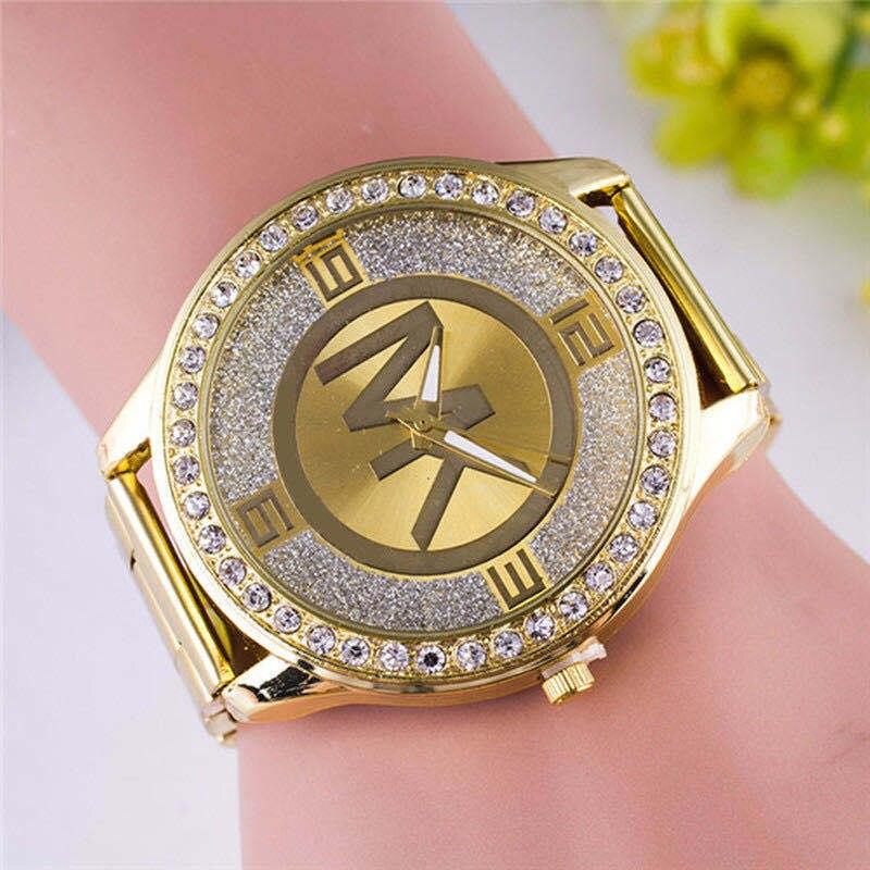 Reloj wk de lujo de marca europea a la moda para mujer, reloj de lujo dorado con diamantes, reloj de cuarzo, reloj informal de acero inoxidable para mujer
