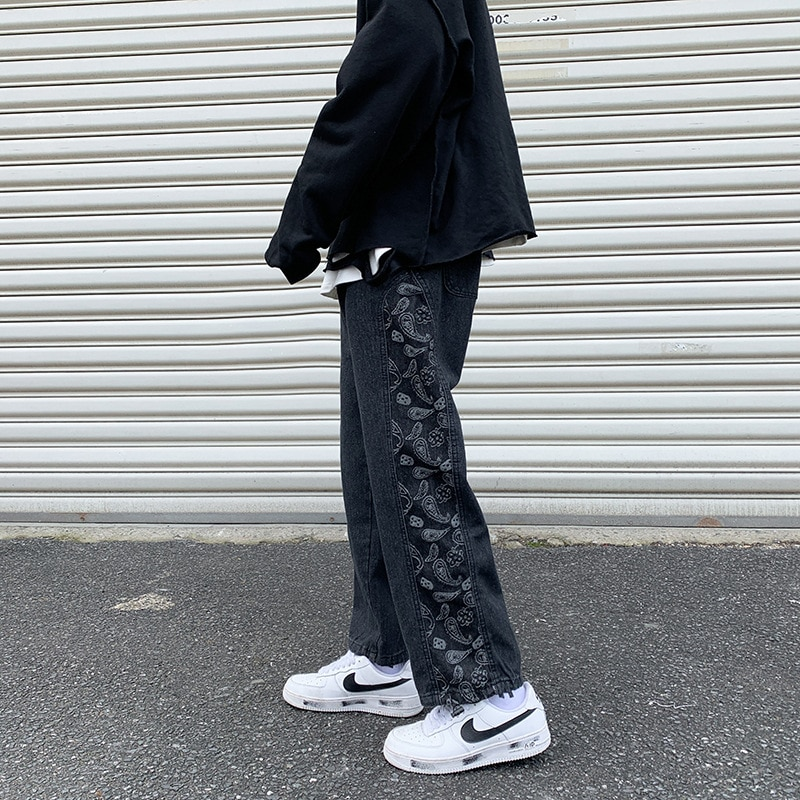 Мужские корейские модные весенние свободные прямые уличные модные брендовые повседневные широкие брюки-трубы в стиле Харадзюку джинсы бре...