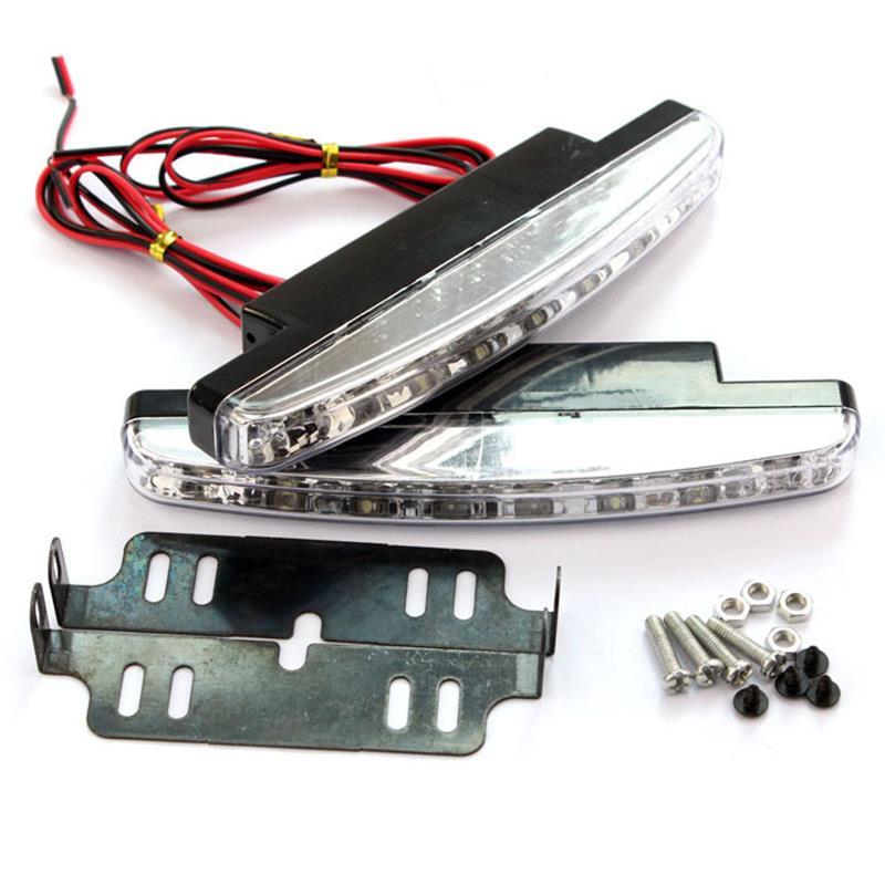 Onever novo quente 1 pc 6000 k carro led daytime driving running luz 8led drl carro nevoeiro lâmpada à prova ddc água luz branca dc 12 v