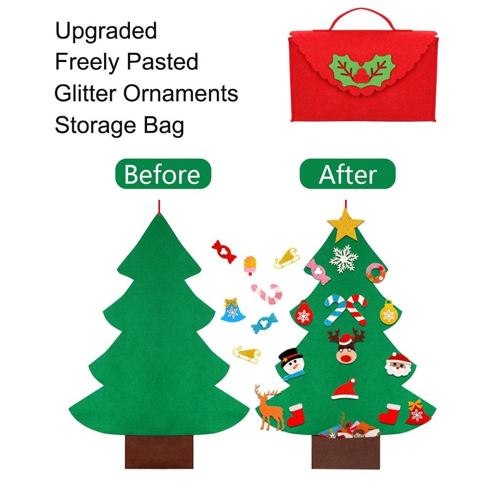 DIY фетровая Рождественская елка для малышей, свободно наклеенные детские игрушки, подарки, Рождественская елка с блестящим мешком, украшения, Настенный декор