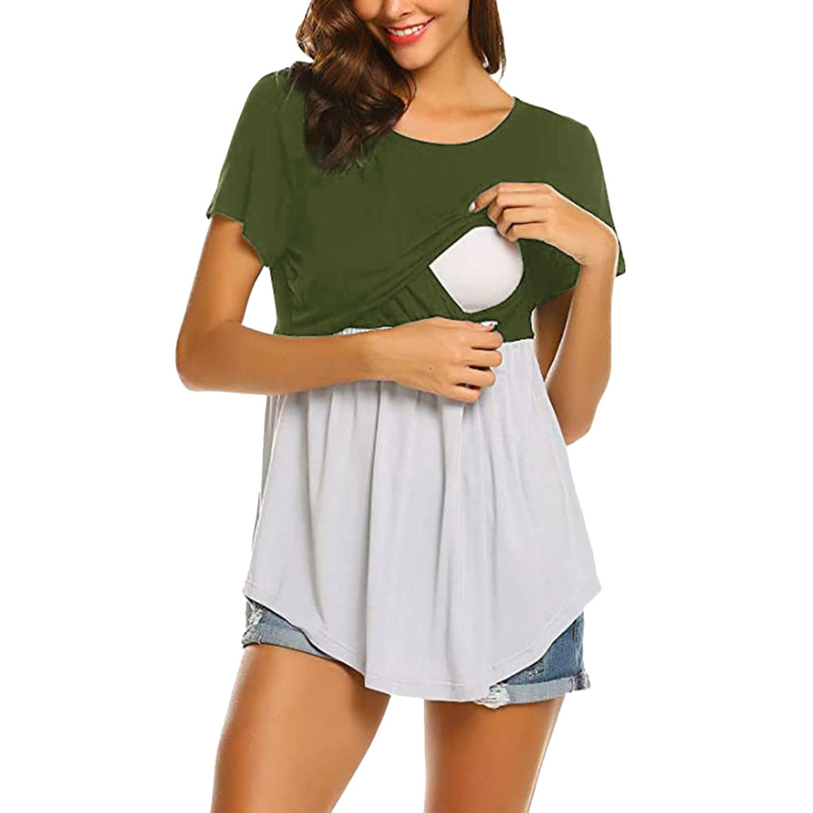 Maternity Short-Sleeved Summer Fashion Polyester Casual Stitching Round Neck Long-Sleeved Nursing Top Breastfeeding Clothes F4
