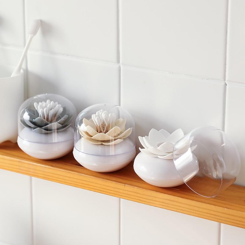 Recipiente para bastoncillos de algodón portátil con forma de loto original, soporte para bastoncillos de algodón para guardar palillos de dientes, soporte para bastoncillos de algodón con cubierta, palillo de loto