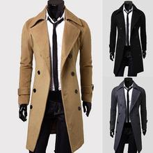 Fashion Coat Men Wool Coat Winter Warm Solid Long Trench Jacket Breasted Business Casual Overcoat Pa