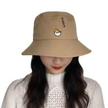 OUNIAN009 chapeau de pêcheur en coton   Chapeau seau brodé pour femmes, bord floqué, chapeau de soleil, casquette plate Panama