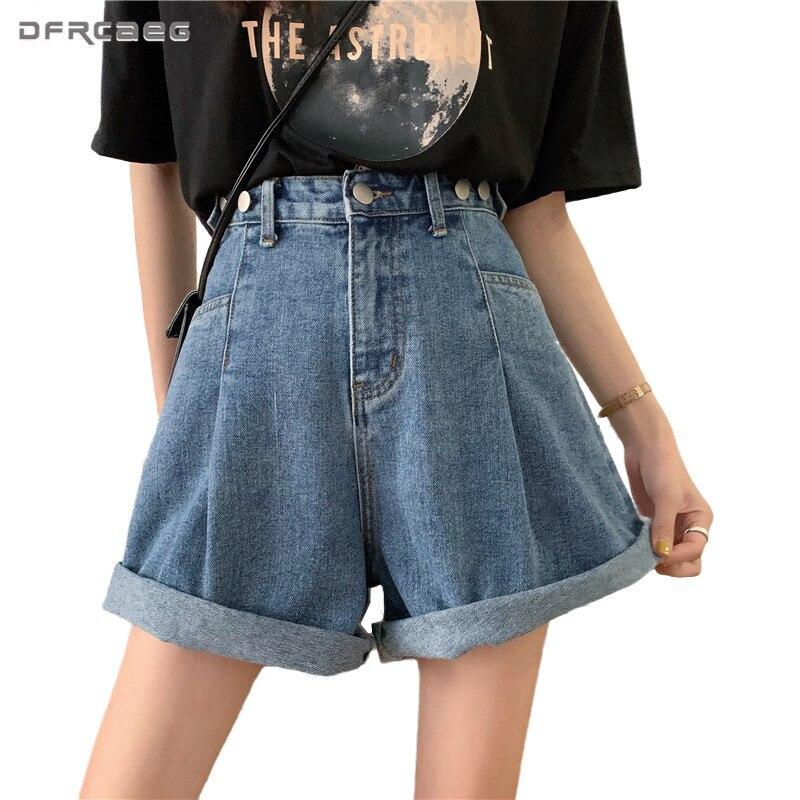 Pantalones cortos de mezclilla para mujer de verano con cintura alta y ajuste Vintage 2020, pantalones cortos vaqueros para mujer